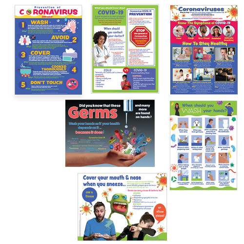 Coronavirus Covid -19 Series of educational learning poster charts for schools, business, institutions