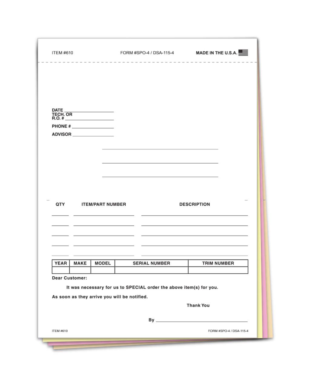 Special Parts Order Form PLAIN #SPO-4/DSA-115-4