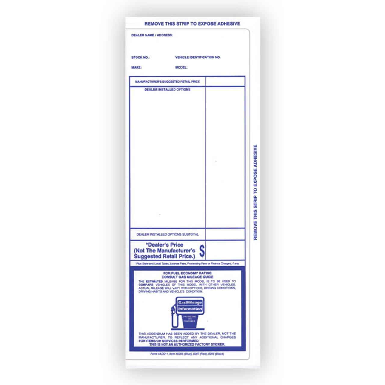 Blue Pre-Printed Two Column Addendum Sticker Form #ADD-1-#8267