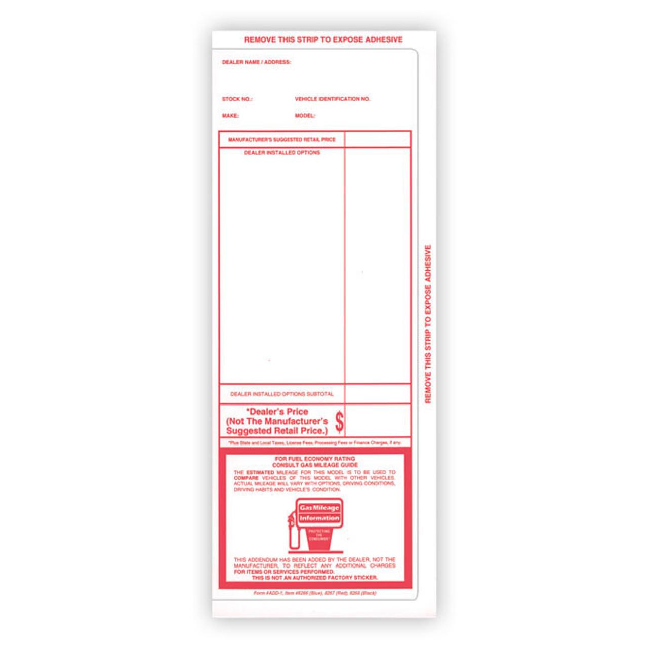 Red - Pre-Printed Two Column Addendum Sticker Form #ADD-1 #8266