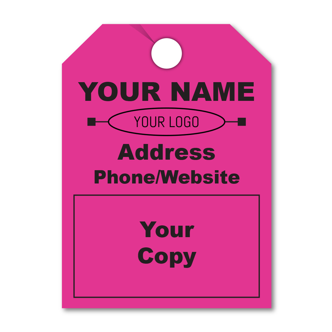custom fluorescent pink hang tags