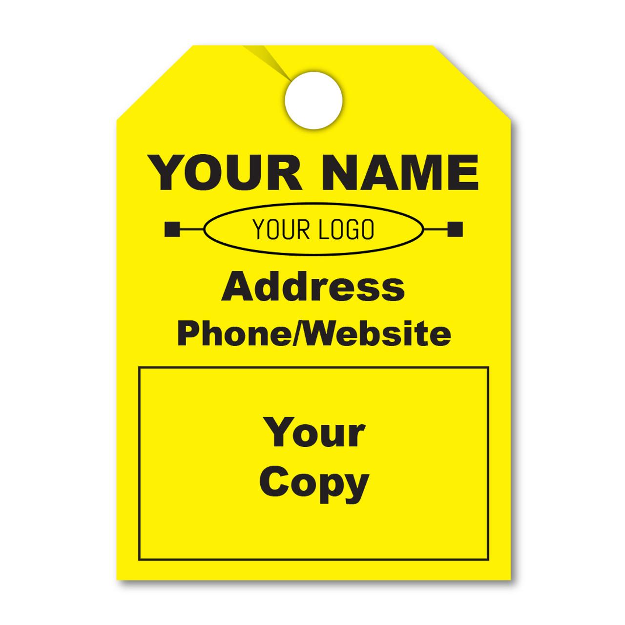 custom fluorescent yellow hang tags