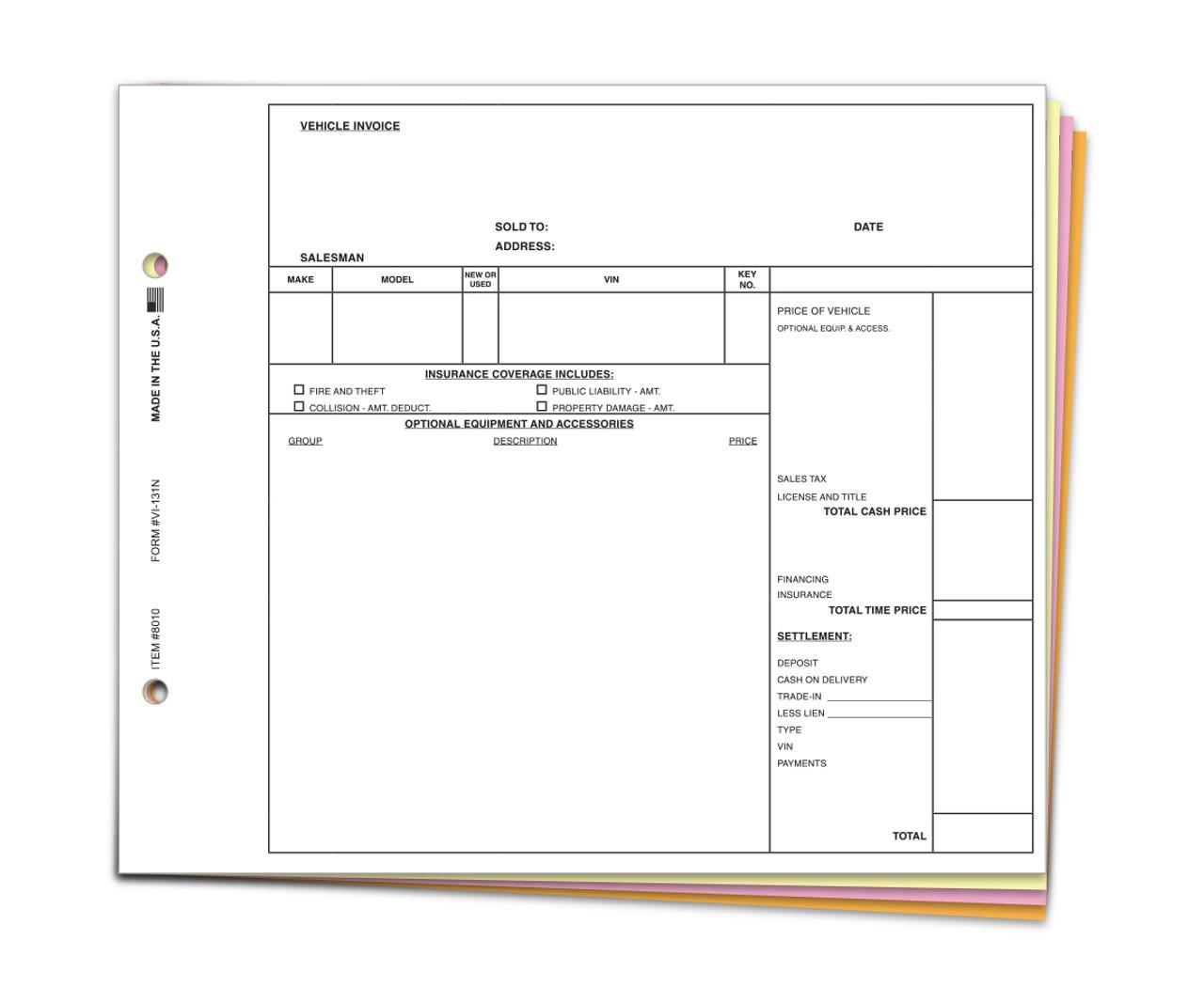 Vehicle Invoice Form #VI-131N Plain