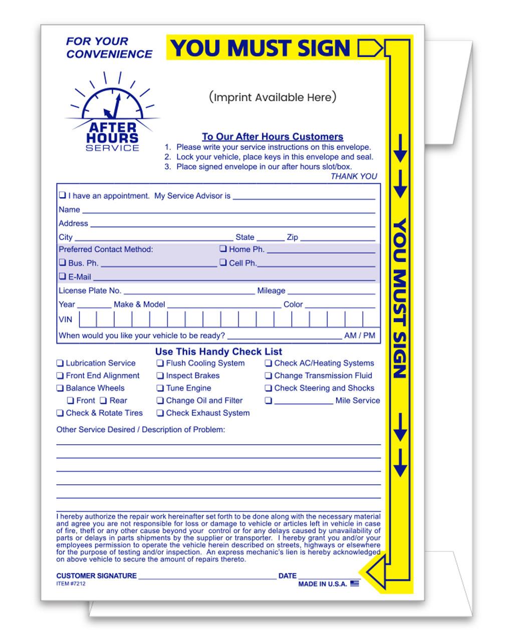 Yellow Highlight Night Drop Envelope - Custom Imprinted Form #NDE-YH