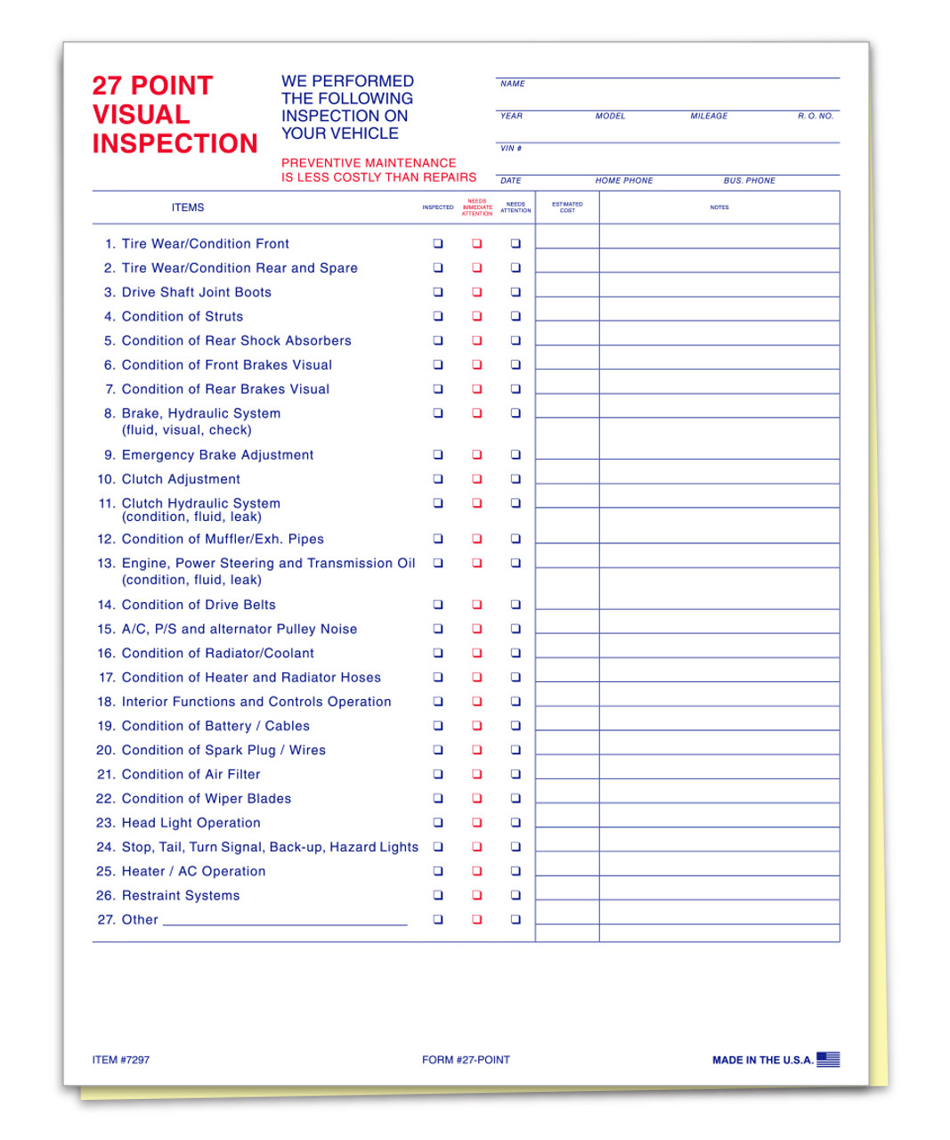 27 Point Inspection (Form-#27-Point)