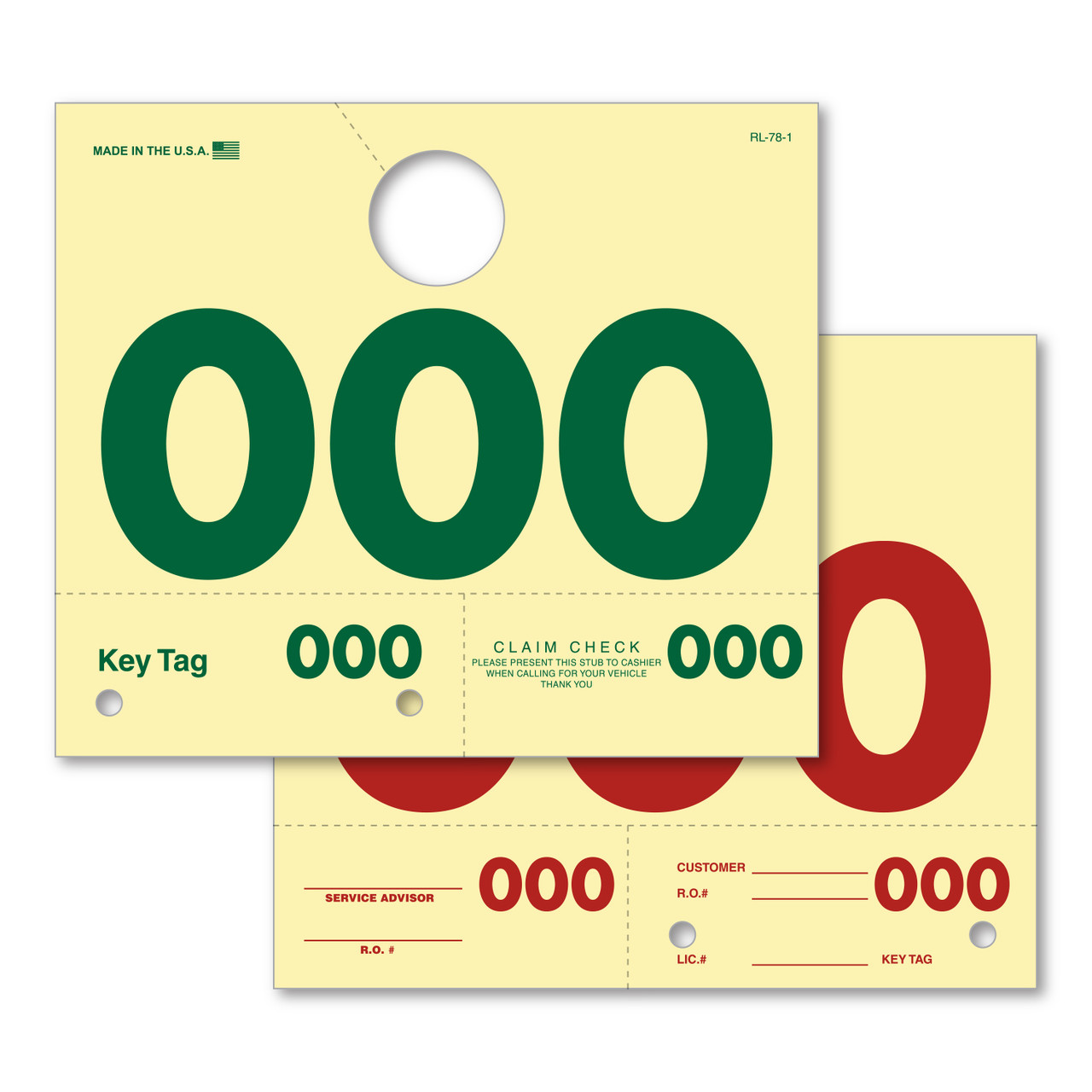 3 Digit Hang Tag (Form #RL-78-200)