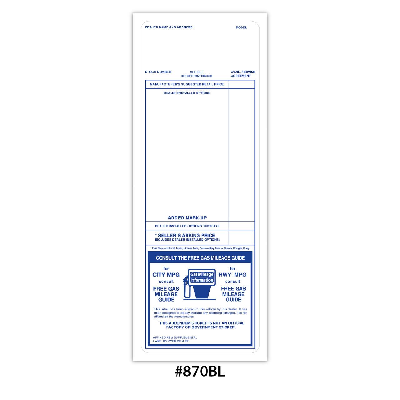 Addendum Stickers (VT-#870-RE-BL)