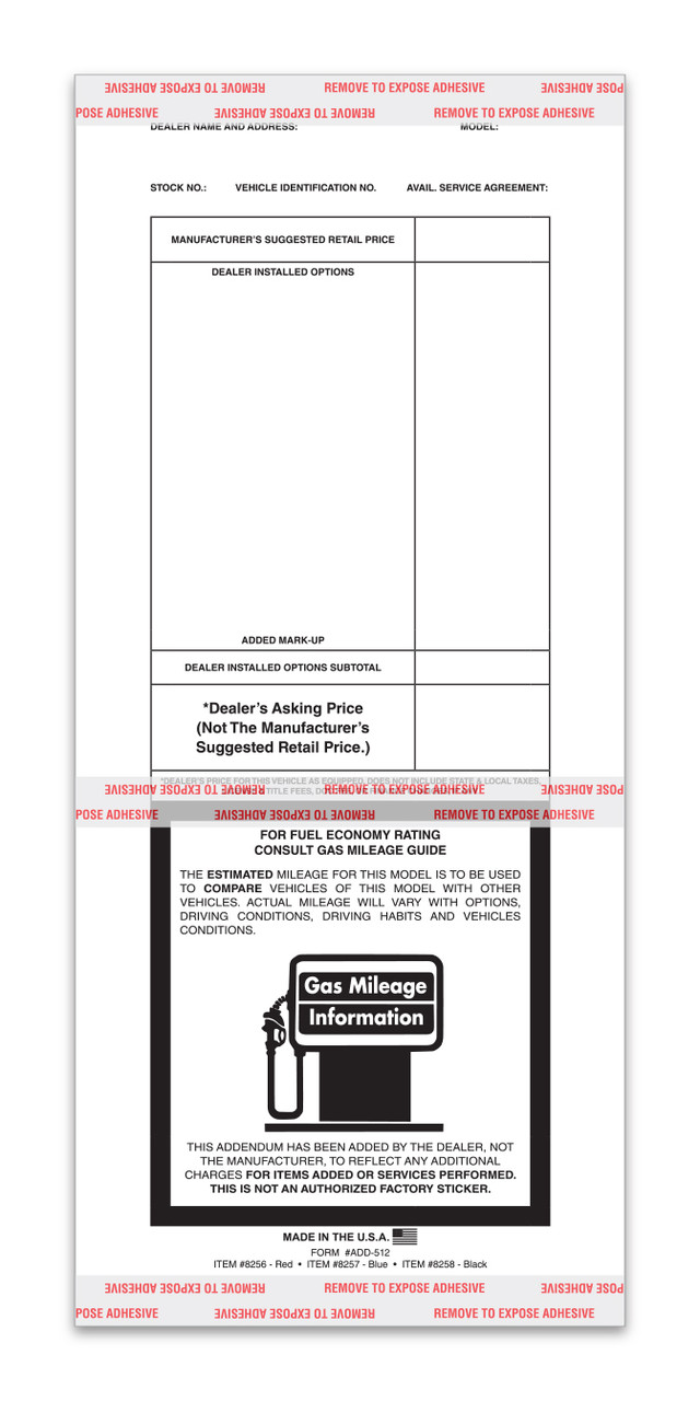 Printed Tape Adhesive Addendum Stickers (Form #ADD-512)