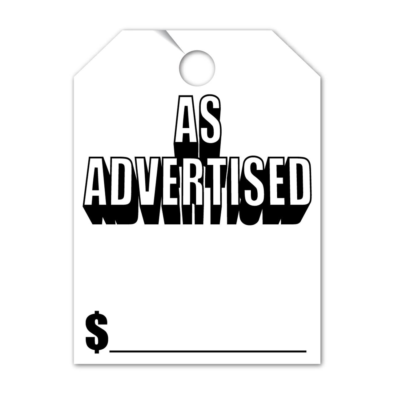 As Advertised Mirror Hang Tag  8.5 X 11.5 (VT-#280- AA)