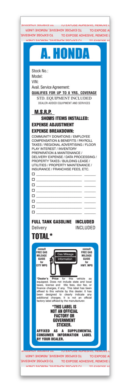 Custom Addendum Sticker (Two Color)  3.4' x11' (Form-#8259-1-Two-Color)