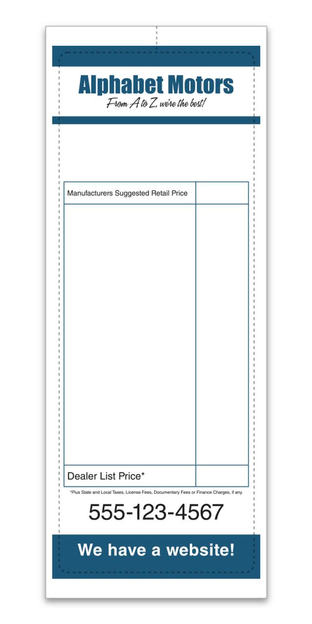 Custom Addendum Sticker (Two Color) 4 1/4' x11' (Form-#8305-1)