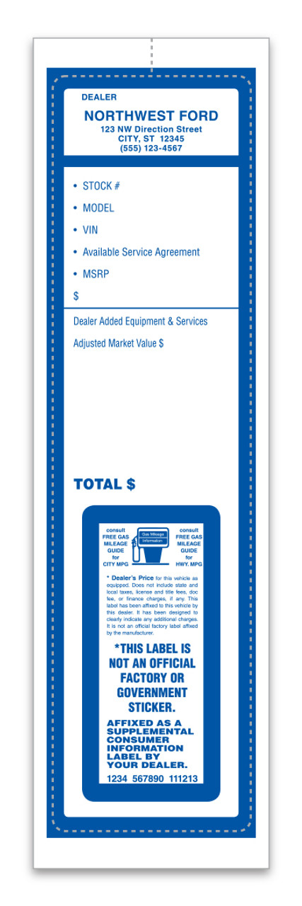 Custom Addendum Sticker (One Color)  3 1/8' x11' (Form-#8305-3)