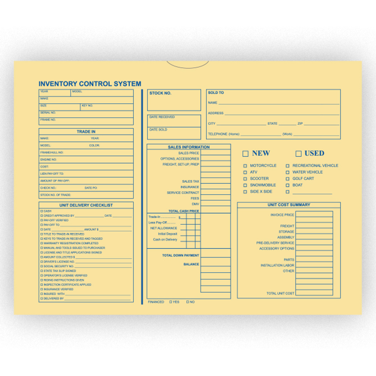 Inventory Control Deal Envelope 100 Pack (Motorcycle, Boat, RV) (Form-#5440-100)