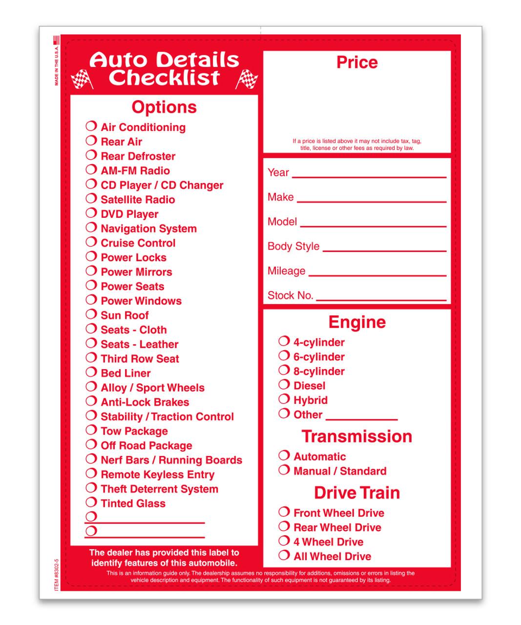 Large Addendum - Auto Deal Checklist