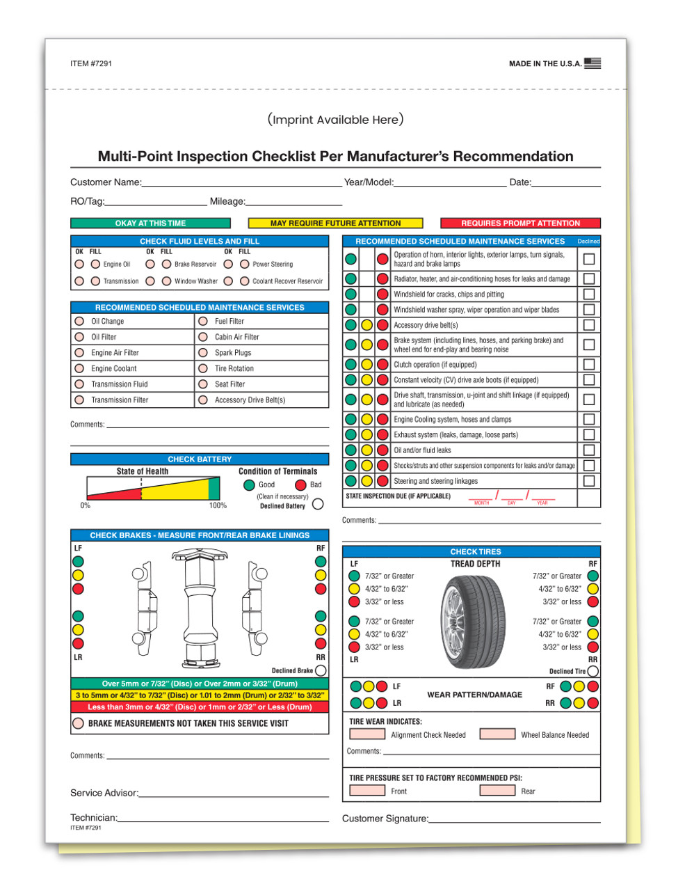 Custom Imprint Multi-Point Inspection 2 Part Form (Form-#7291)