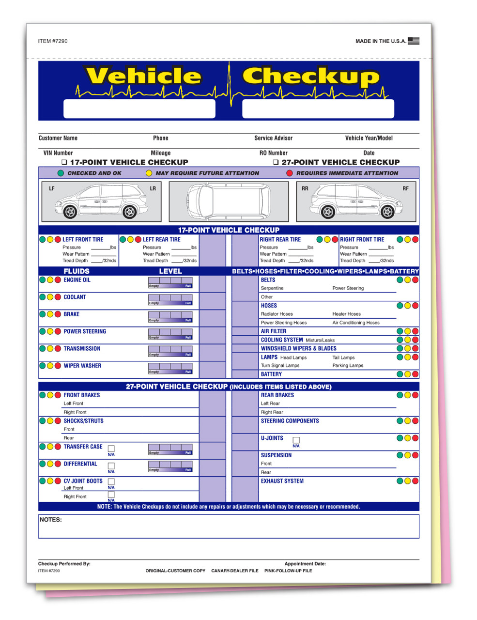 Generic Multi-Point Inspection 3 Part Form #7290 Plain