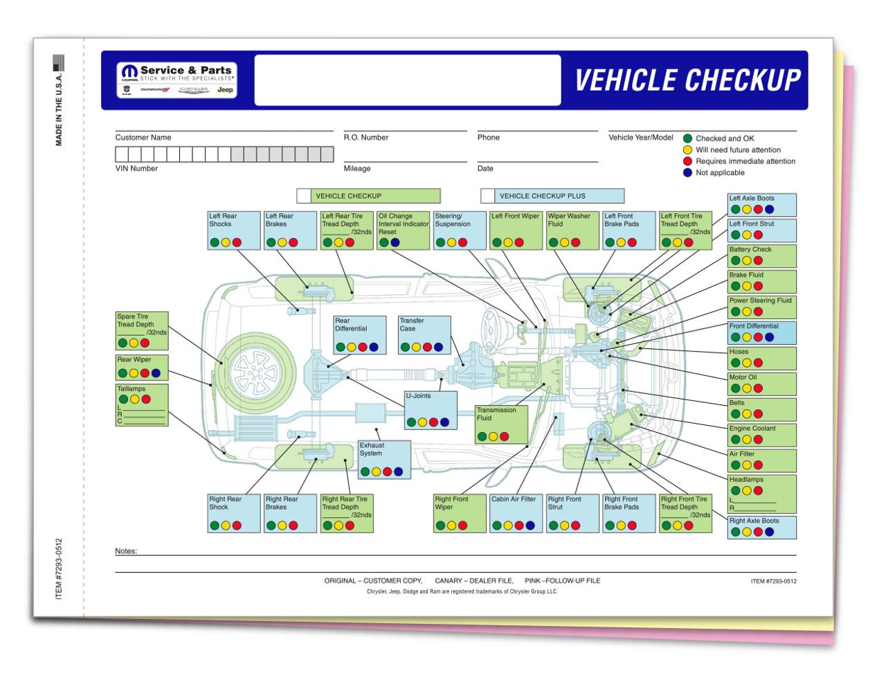 Manufacturer Specific - Chrysler Multi-Point Inspection 3 Part Form-#7293-0512-Plain