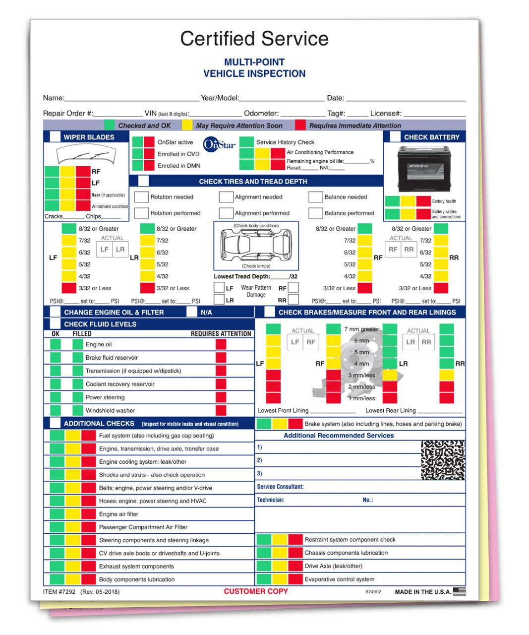 Manufacturer Specific - GM Multi-Point Inspection 3 Part Form- #7292-Plain