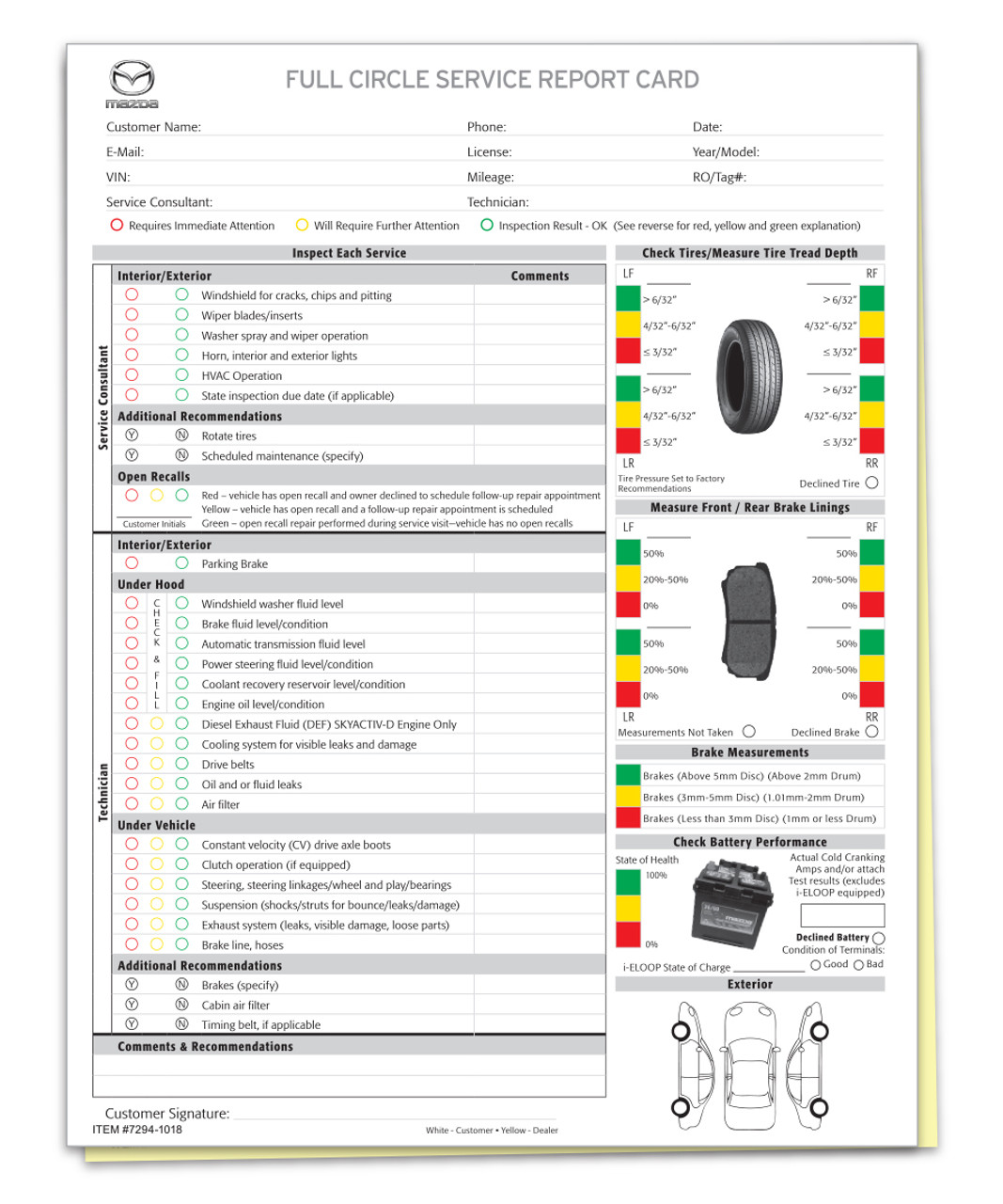 Manufacturer Specific - Mazda Multi-Point Inspection 2 Part Form (Form-#7294-1018)