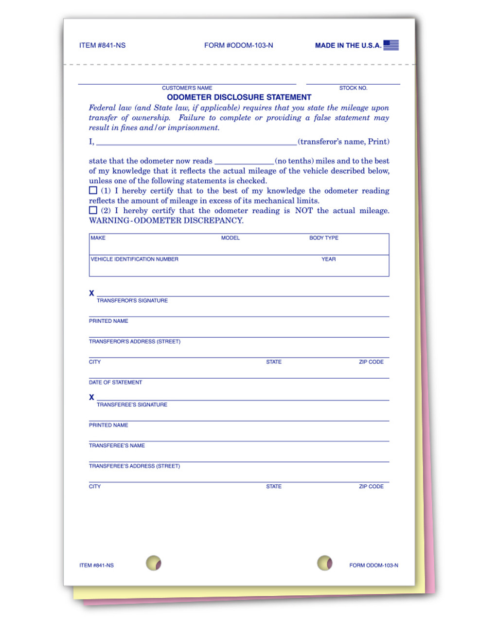 Odometer Disclosure Statements (NO SCREEN) Form ##ODOM-103-N