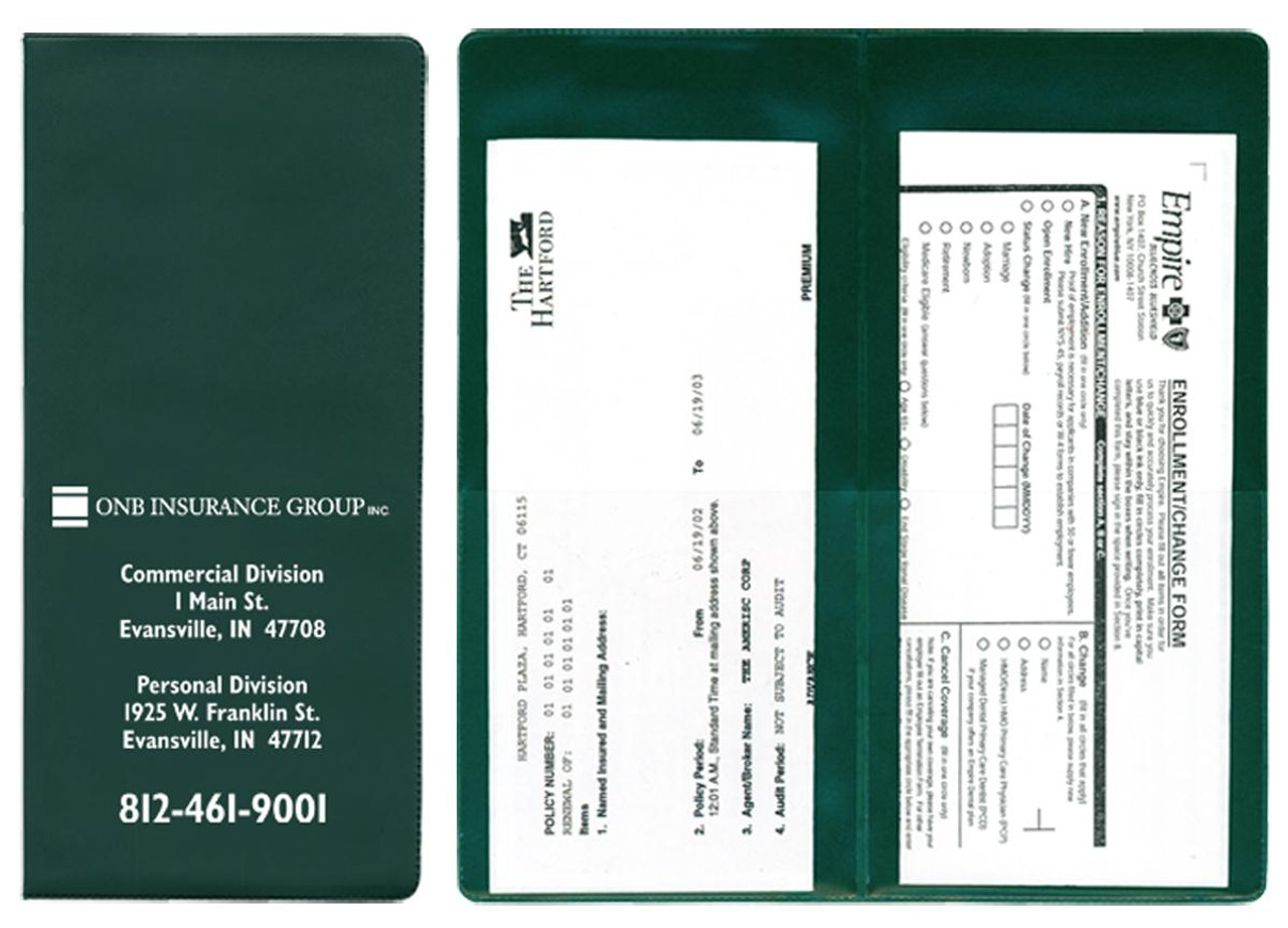 Policy and Document Holder with 2 Clear Half Pockets (RI-#215)