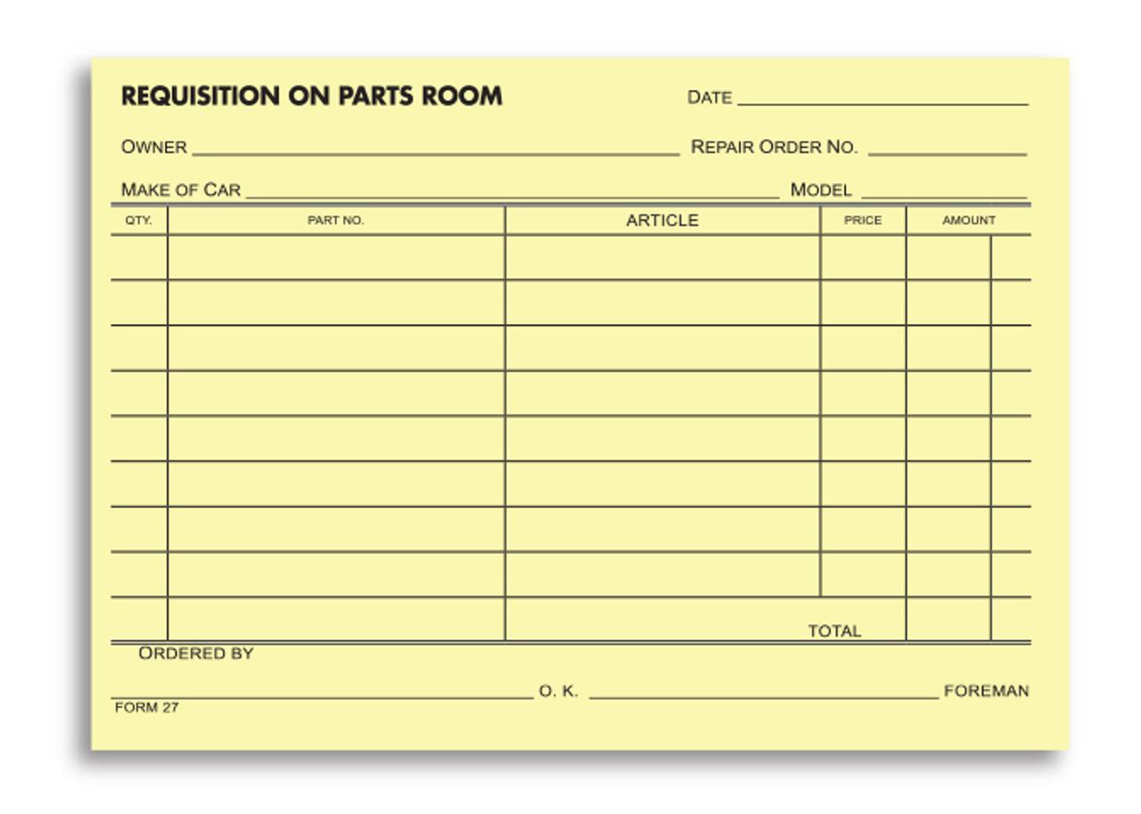 Parts Requisition Form-#27