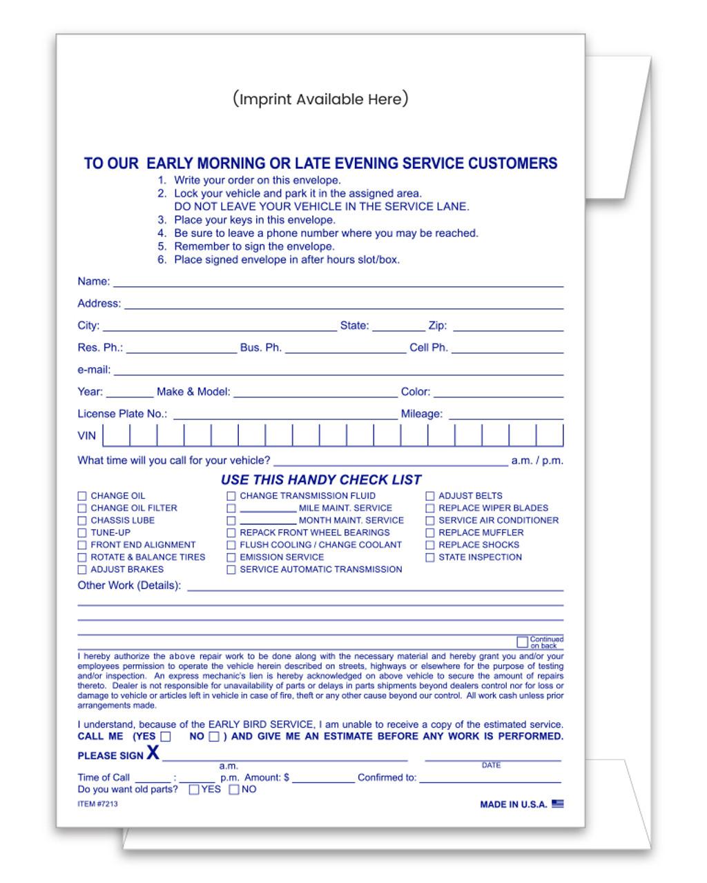 Service Estimate and Parts Return Night Drop Envelope Custom IMPRINTED Form #NDE-EST
