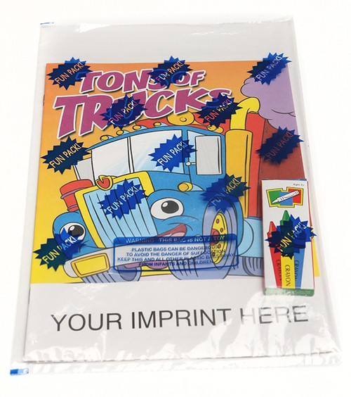 Tons Of Trucks Coloring Book With Custom Imprinted Crayon Box (Fun Pack)