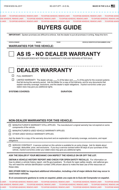2-Part Buyers Guide IMPRINTED- As Is-No Warranty (With and Without Lines) Form- #BG-1985 As-Is