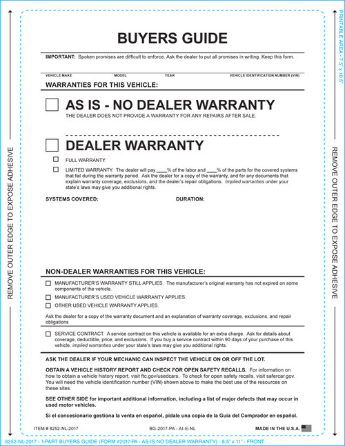1-Part Buyers Guide- As Is-No Warranty (With and Without Lines)  (Form #1985-P/A)