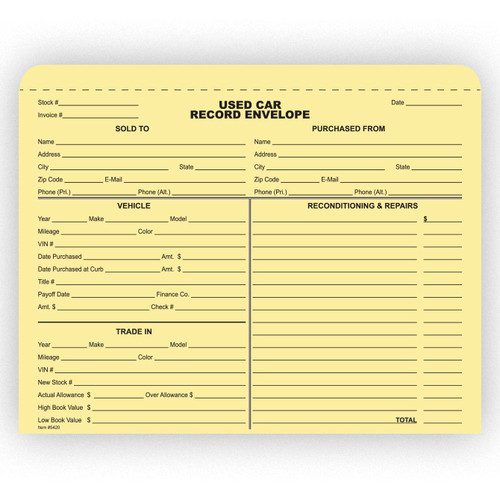 Used Car Record Envelope  500 Packs