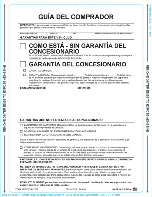 1-Part Buyers Guide SPANISH- As Is- No Warranty (With and Without Lines) (Form- #1985-P/A-Spanish)