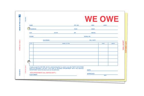 We Owe Form #SA-1506-3 (Plain)
