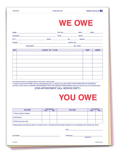 We Owe/You Owe Form (Plain)
