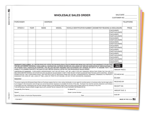 Whole Sales Order Form