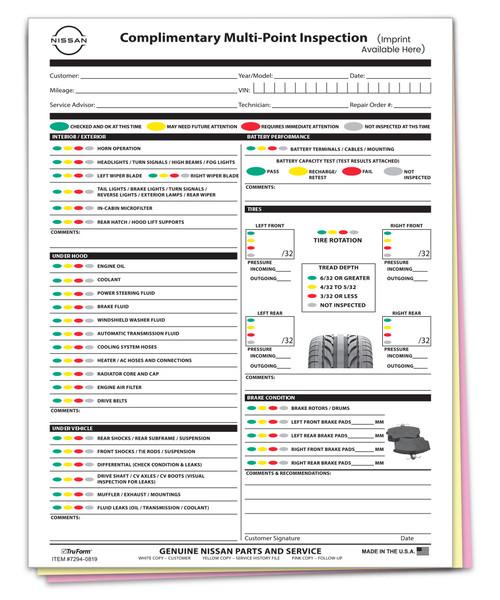 Custom Imprint Manufacturer Specific Nissan Multi-Point Inspection 3 Part Form (Form-#7294-0513-IMP)