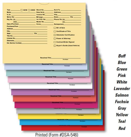 Pre-Printed Deal Jacket 100 Pack Form #DSA-546