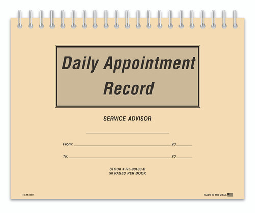 Daily Appointment Record Book Form- #RL-98183-B