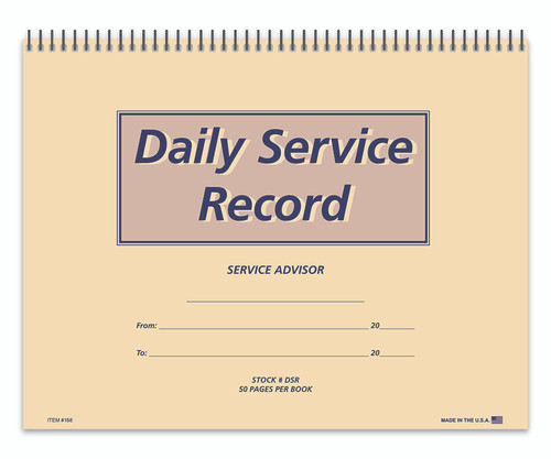 Daily Service Record Book (Form- #DSR)