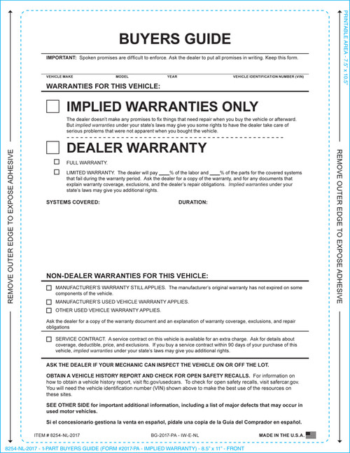 1-Part Buyers Guide-Implied Warranty (WIth and Without Lines) (Form- #BG-Implied Warranty)
