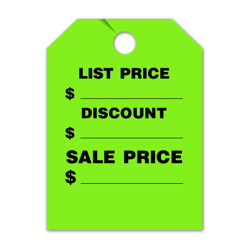 List Price, Discount, Sale Price  Mirror Hang Tag 8.5 X 11.5