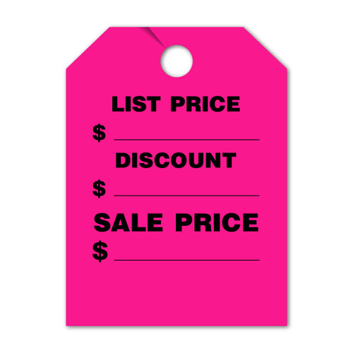 List Price, Discount, Sale Price  Mirror Hang Tag 9 X 12 (VT-#290- LD)