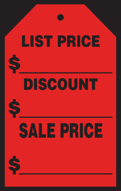 "List Price Windshield Tags  (#589-41/43) 7"" x 11"""