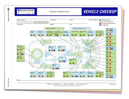 Custom Imprint Manufacturer Specific Chrysler Multi-Point Inspection 3 Part Form-#7293-0512-IMP
