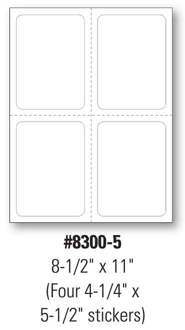 Plain Stock Addendum Stickers  Four 4 1/4' x 5 1/2'