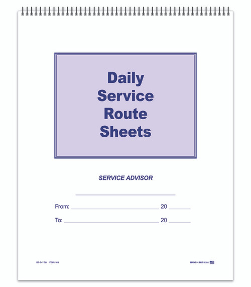 Route Sheets- Spiral Bound -Form- #RS-547-SB