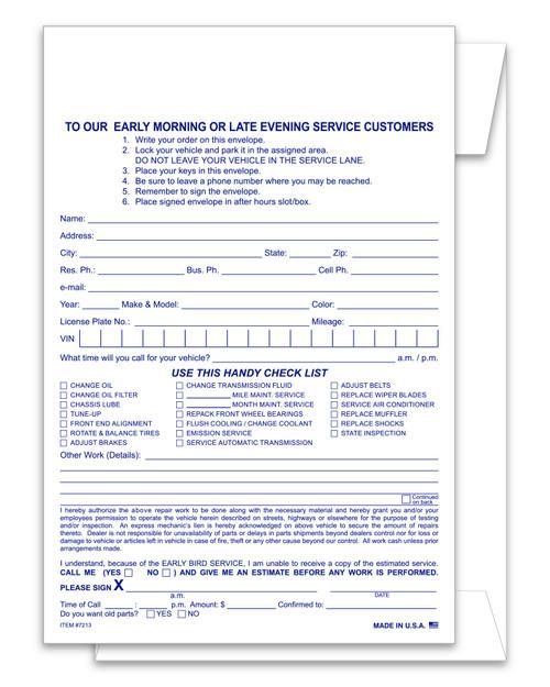 Service Estimate and Parts Return Night Drop Envelope PLAIN Form #NDE-EST