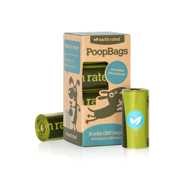 EARTH RATED POOPBAGS 120PK UNSCENTED ROLLS