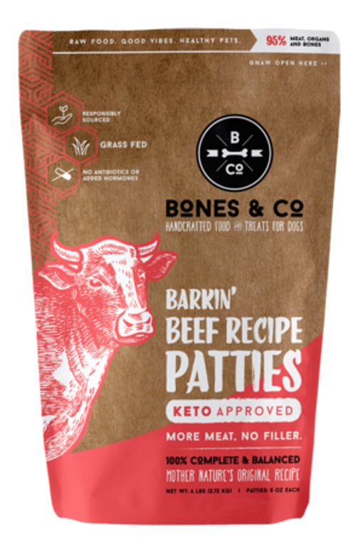 BONES & CO RAW BEEF PATTIES 6#