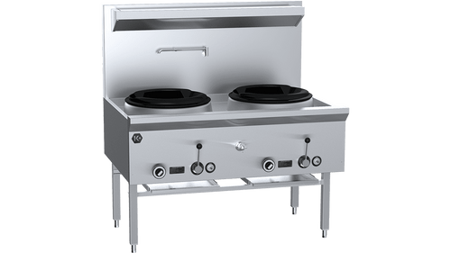 B & S UFWWK-2 K+ Two Hole Waterless Wok Table